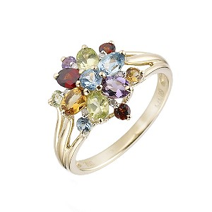 9ct Gold Multi Coloured Semi Precious Stone Ring