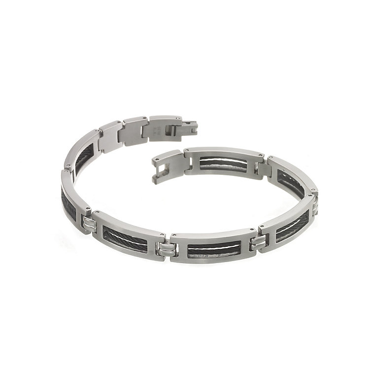 Titanium and Black Steel Cable Bracelet - Product number 5795583