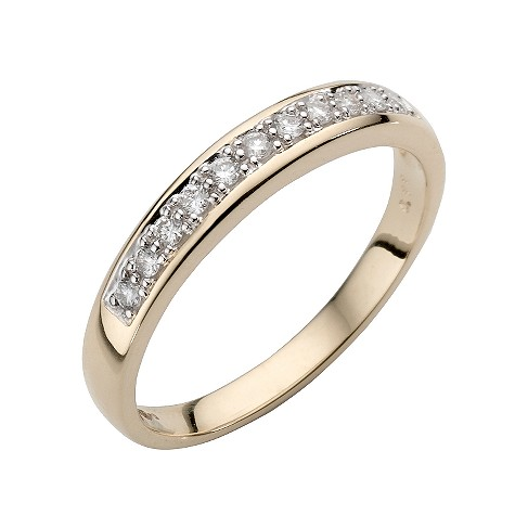 9ct gold channel set diamond ring