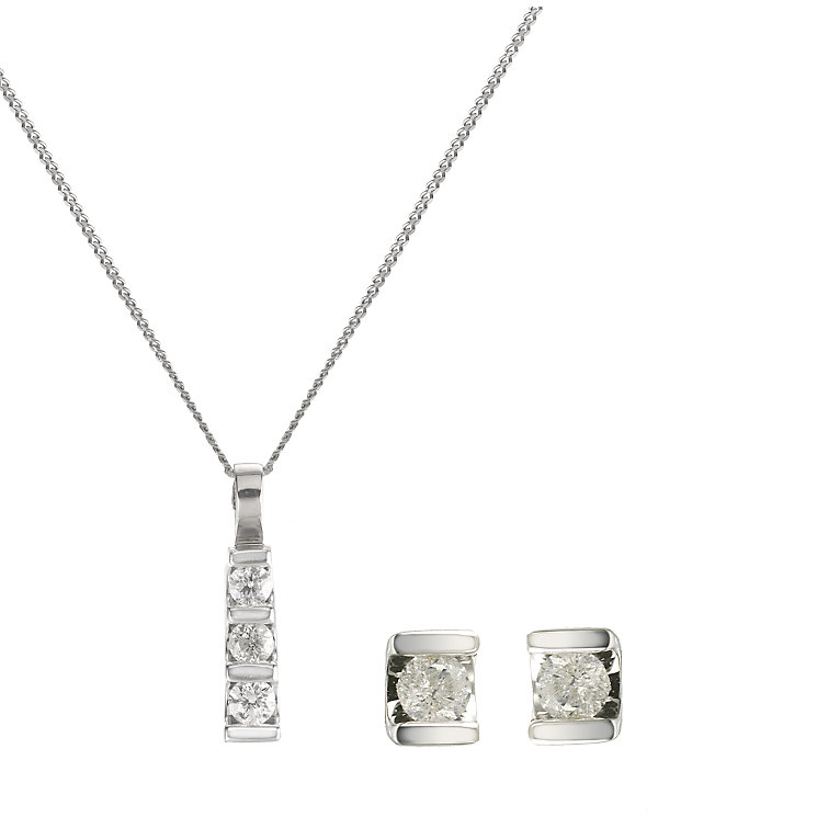 9ct white gold third carat diamond pendant and earring set - Product number 5799333