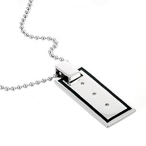 Men` Silver Black Line Dog Tag