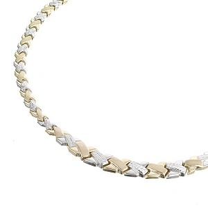 9ct Two Colour Gold Collar Necklace