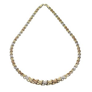 9ct Three Colour Gold Kiss Necklace