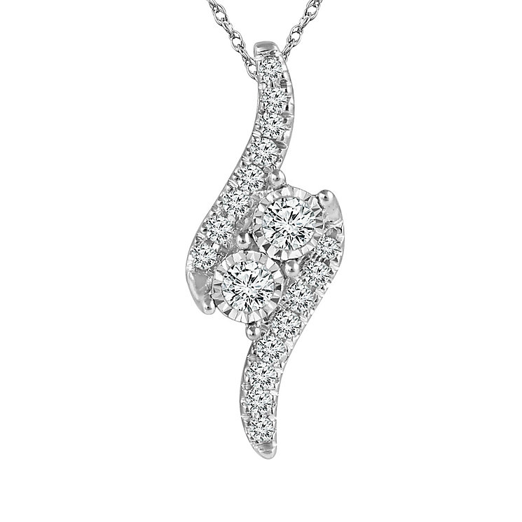Ever Us 14ct White Gold 1/4 Carat Diamond 2 Stone Pendant - Product number 5818044