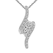 Ever Us 14ct White Gold 0.17 Carat Diamond 2 Stone Pendant - Product number 5818052