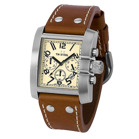 TW Steel Goliath men's 42mm chronograph leather strap watch