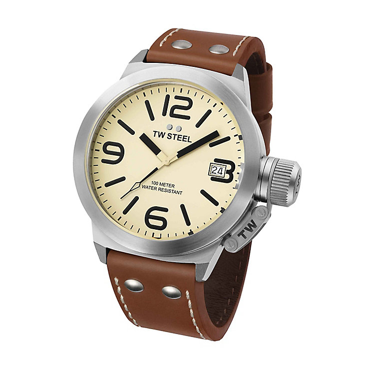 TW Steel Canteen Style men's 45mm brown leather strap watch - Product number 5818605