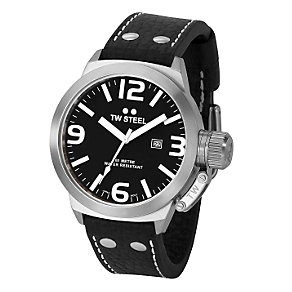 TW Steel Canteen Style men's 45mm black leather strap watch - Product number 5818621
