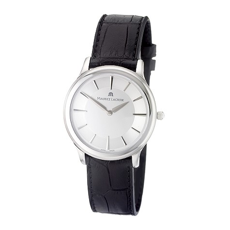 Maurice Lacroix Classique mens black leather strap watch