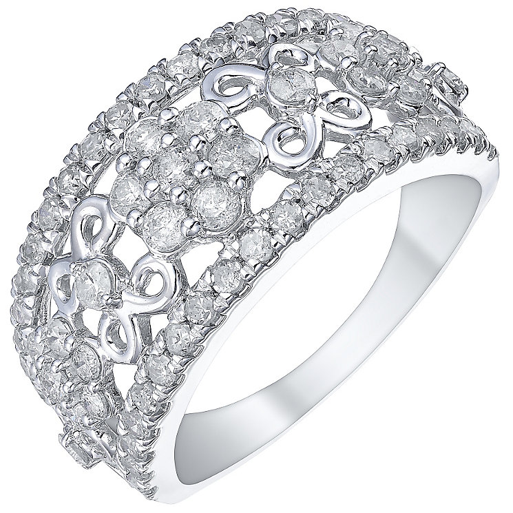 9ct White Gold 1 Carat Diamond Wide Eternity Ring - Product number 5828708