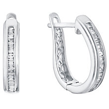 9ct white gold 20pt Channel Set Diamond Hoop Earrings - Product number 5832853