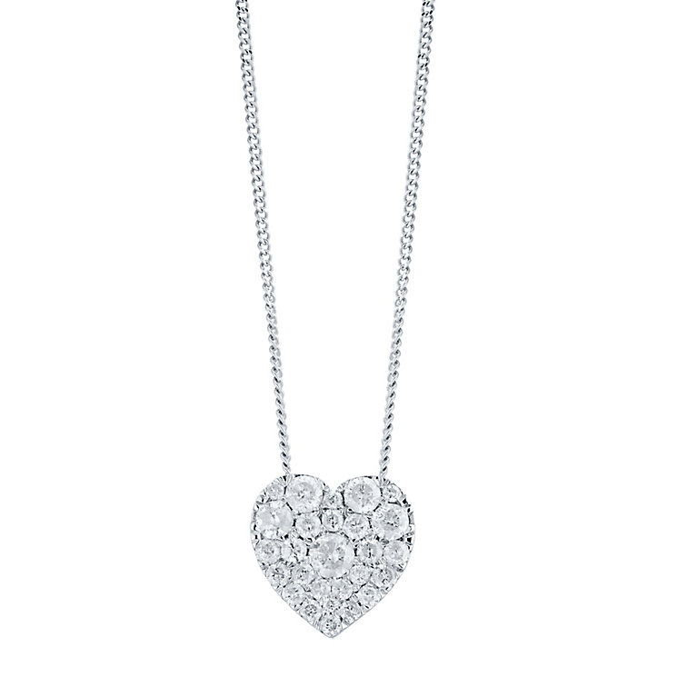 9ct White Gold 0.50ct Diamond Heart Pendant - Product number 5832926