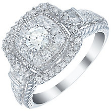 18ct White Gold 1ct Diamond Double Halo Ring - Product number 5833183