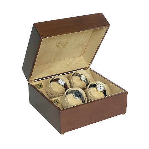 Satin walnut quad watch winder (watches not included)