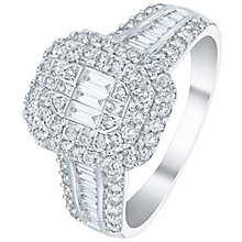 18ct White Gold 1ct Diamond Double Halo Cluster Ring - Product number 5833590