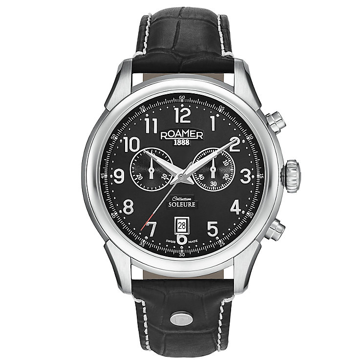 Roamer Soleure Men's Black Leather Strap Watch - Product number 5837413