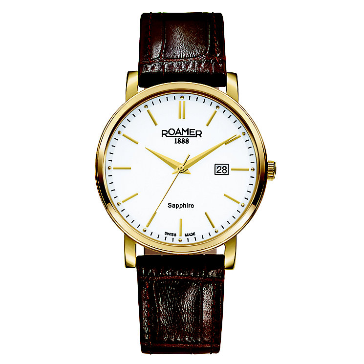 Roamer Men's Gold-Plated Brown Leather Strap Watch - Product number 5837464