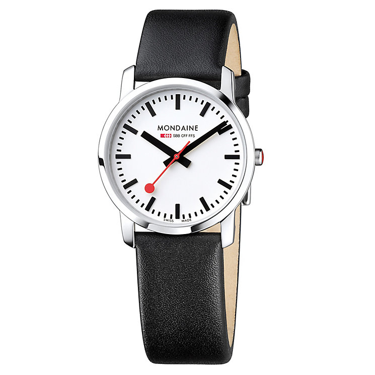 Mondaine Ladies' White Dial Black Leather Strap Watch - Product number 5837499