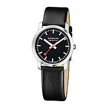 Mondaine Ladies' Black Dial Black Leather Strap Watch - Product number 5837510