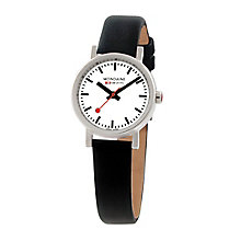 Mondaine Ladies' White Dial Black Leather Strap Watch - Product number 5837537