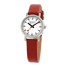 Mondaine Ladies' White Dial Red Leather Strap Watch - Product number 5837545