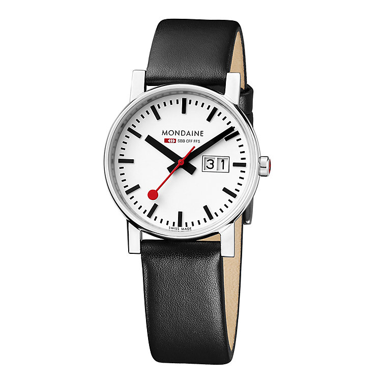 Mondaine Ladies' White Dial Black Leather Strap Watch - Product number 5837588