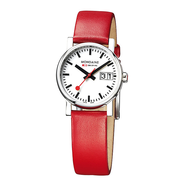 Mondaine Ladies' White Dial Red Leather Strap Watch - Product number 5837596