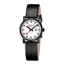 Mondaine Ladies' White Dial Black Leather Strap Watch - Product number 5837626