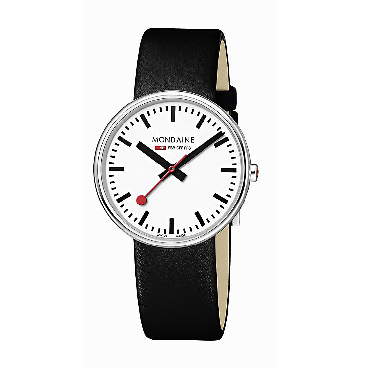 Mondaine Ladies' White Dial Black Leather Strap Watch - Product number 5837634