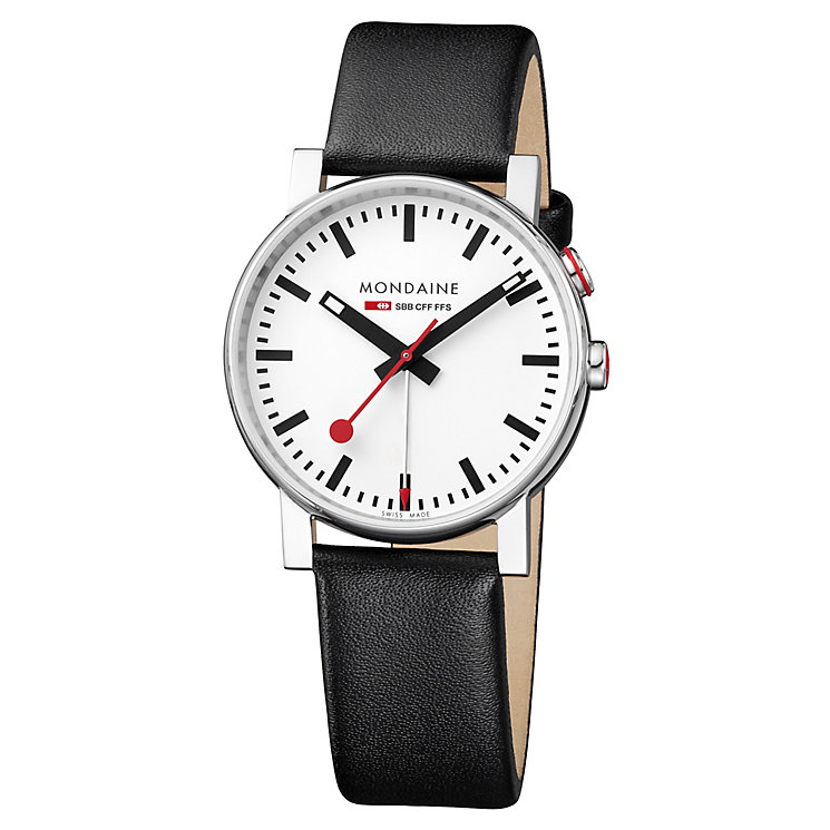 Mondaine Men's White Dial Black Leather Strap Watch - Product number 5837685