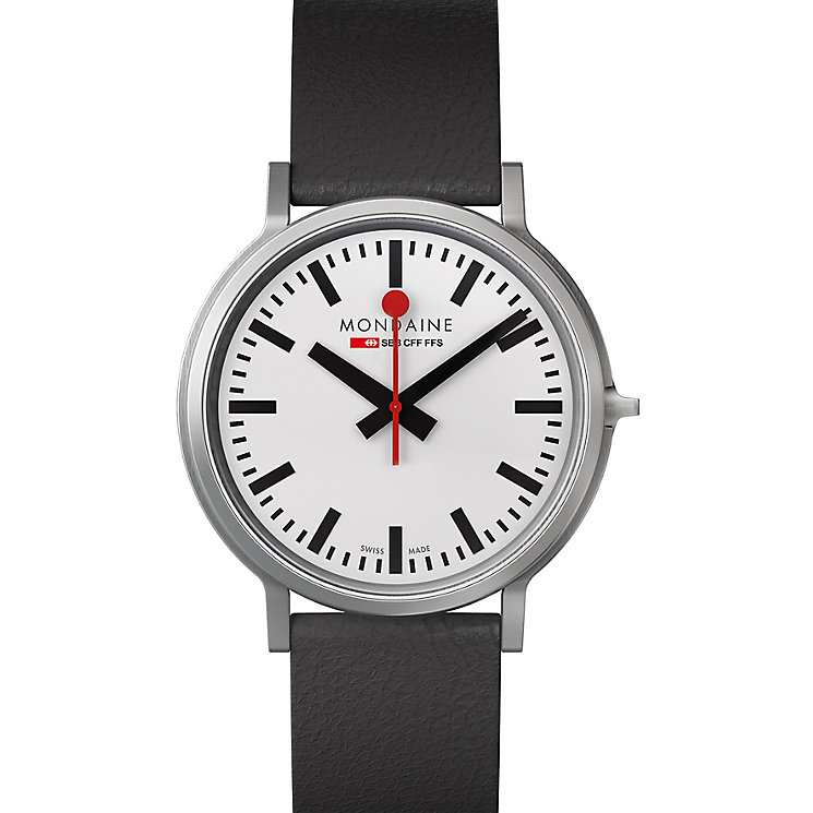 Mondaine Men's White Dial Black Leather Strap Watch - Product number 5837693