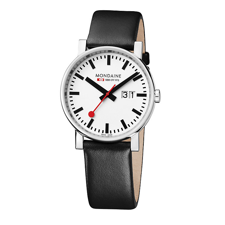 Mondaine Men's White Dial Black Leather Strap Watch - Product number 5837707