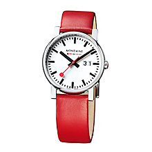 Mondaine Men's White Dial Red Leather Strap Watch - Product number 5837715
