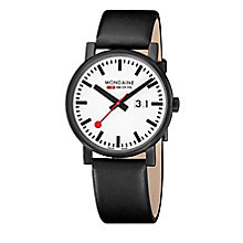 Mondaine Men's White Dial Black Leather Strap Watch - Product number 5837731
