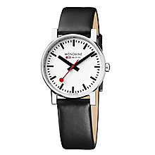 Mondaine Men's White Dial Black Leather Strap Watch - Product number 5837782