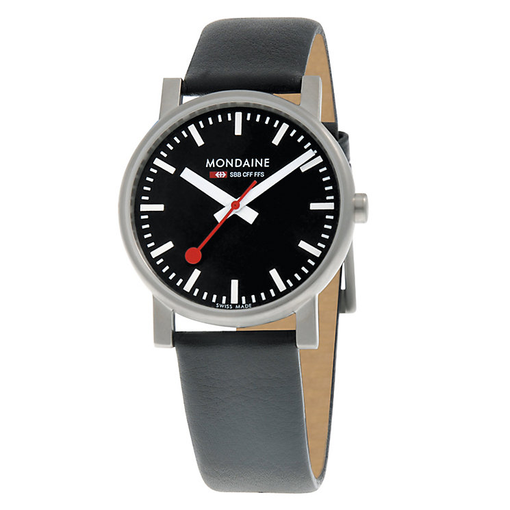 Mondaine Men's Black Dial Black Leather Strap Watch - Product number 5837804