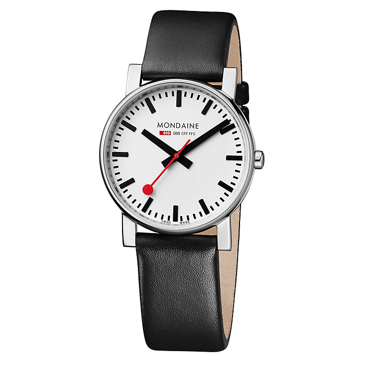 Mondaine Men's White Dial Black Leather Strap Watch - Product number 5837839