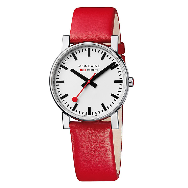 Mondaine Men's White Dial Red Leather Strap Watch - Product number 5837847