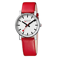 Mondaine Unisex White Dial Red Leather Strap Watch - Product number 5837847
