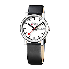 Mondaine Men's White Dial Black Leather Strap Watch - Product number 5837863