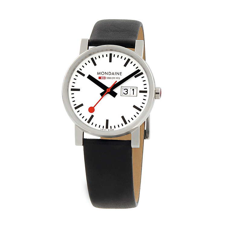 Mondaine Men's White Dial Black Leather Strap Watch - Product number 5837871
