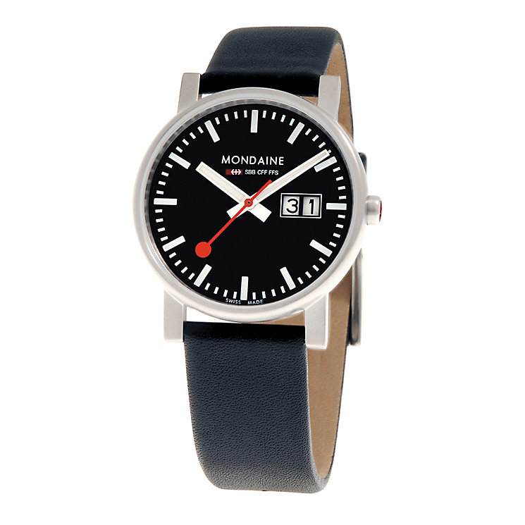 Mondaine Men's Black Dial Black Leather Strap Watch - Product number 5837898