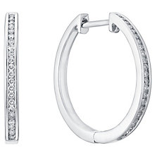 9ct White Gold 20pt Channel Set Diamond Hoop Earrings - Product number 5837928
