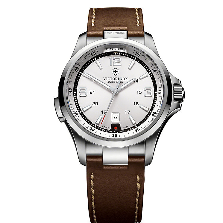 Victorinox Night Vision Men's Brown Leather Strap Watch - Product number 5838142