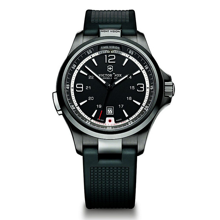 Victorinox Night Vision Men's Black Rubber Strap Watch - Product number 5838231