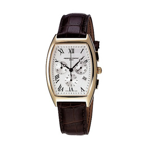 Frederique Constant men's brown leather strap watch - FC292M4T25
