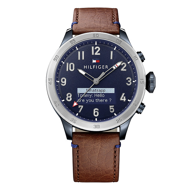 Tommy Hilfiger Gent's Brown Leather Strap Smartwatch - Product number 5854954