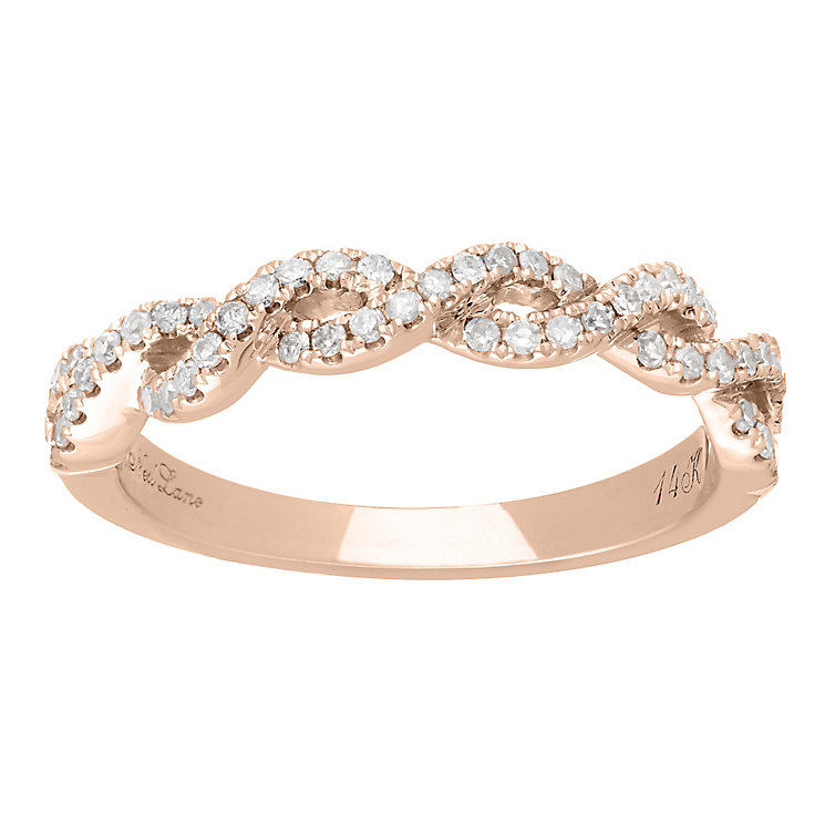 Neil Lane Designs 14ct Rose gold 0.25ct diamond twist band - Product number 5856396