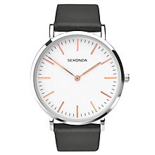 Sekonda Men's White Dial Black Leather Strap Watch - Product number 5865832