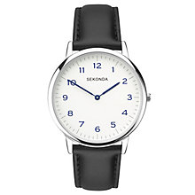 Sekonda Men's White Dial Black Leather Strap Watch - Product number 5865875
